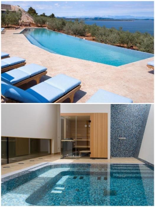 К услугам гостей панорамный бассейн с морской водой и крытый бассейн в оздоровительном центре (Villa Nai 3.3, Хорватия).
