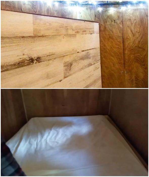 Откидная кровать в разложенном виде занимает все пространство фургона.