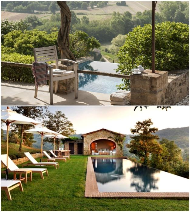 Возле каждой резиденции созданы панорамные бассейны (Castello Di Reschio, Италия).