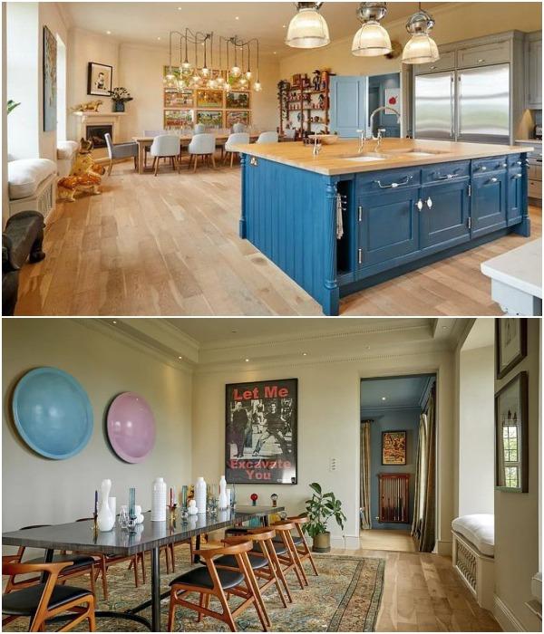Кухня и одна из столовых в загородном доме, в котором раньше жил известный архитектор сэр Норман Фостер (Compton Bassett House, Великобритания).