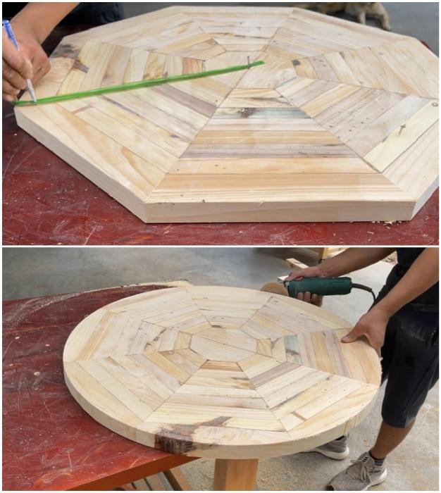 С помощью самодельного циркуля прочертить окружность, вырезать круг и отшлифовать торцы.