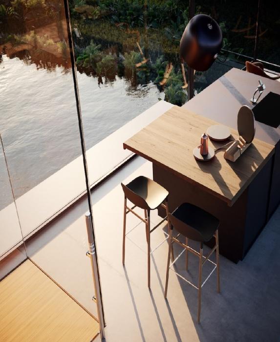 Готовить на такой кухне, впрочем, как и обедать, будет одно удовольствие (концепт House on the Rice Paddy). | Фото: designboom.com.