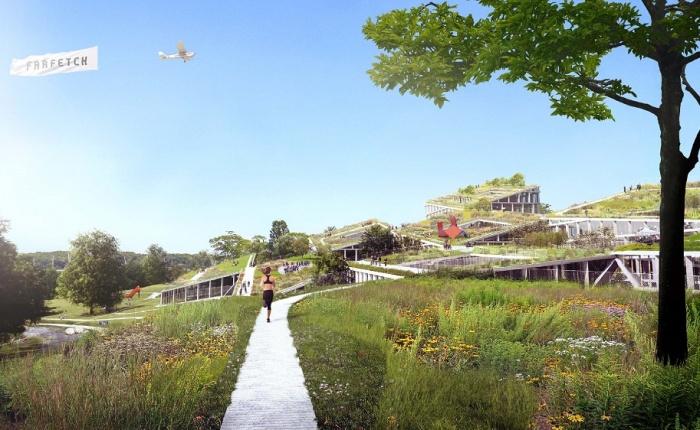 Крыши зданий станут естественным продолжением склона холма (концепт Fase Valley). | Фото: skyscrapercity.com.