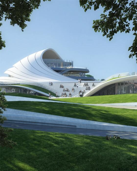 Скаты крыши в некоторых местах превратят в смотровые площадки и каскадные террасы для отдыха горожан и гостей (концепт Jiaxing Civic Center).   Фото: mymodernmet.com.