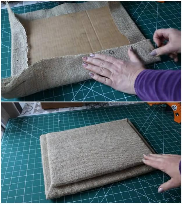 Крышку для корзины можно сделать из двух кусков картона разного размера.