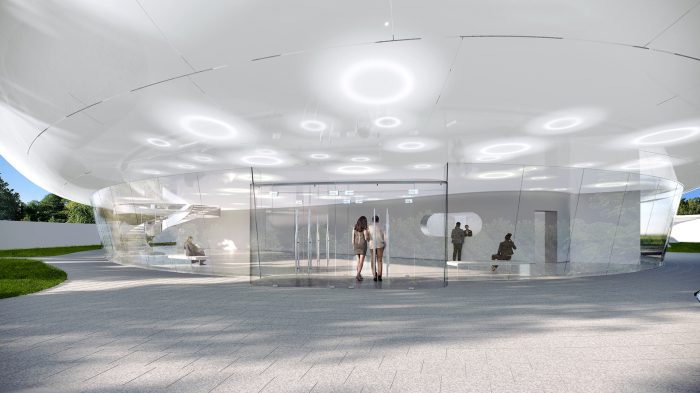 Впечатляющий вход в общественный центр настраивает на соответствующую волну (концепт Aranya Cloud Center). | Фото: mymodernmet.com.