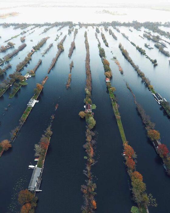 На некоторых островках едва помещаются узкие дома (Vinkeveense Plassen, Нидерланды).   Фото: pinterest.co.uk.