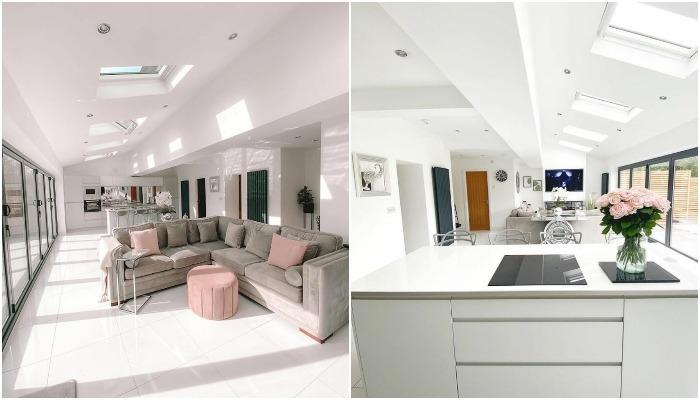 В новой пристройке удалось создать объединенное пространство (гостиная и кухня-столовая).