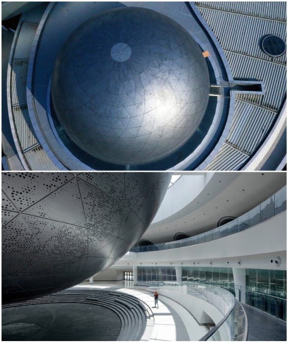 Планетарий имеет форму сферы, олицетворяющей планету (The Shanghai Astronomy Museum, Китай).