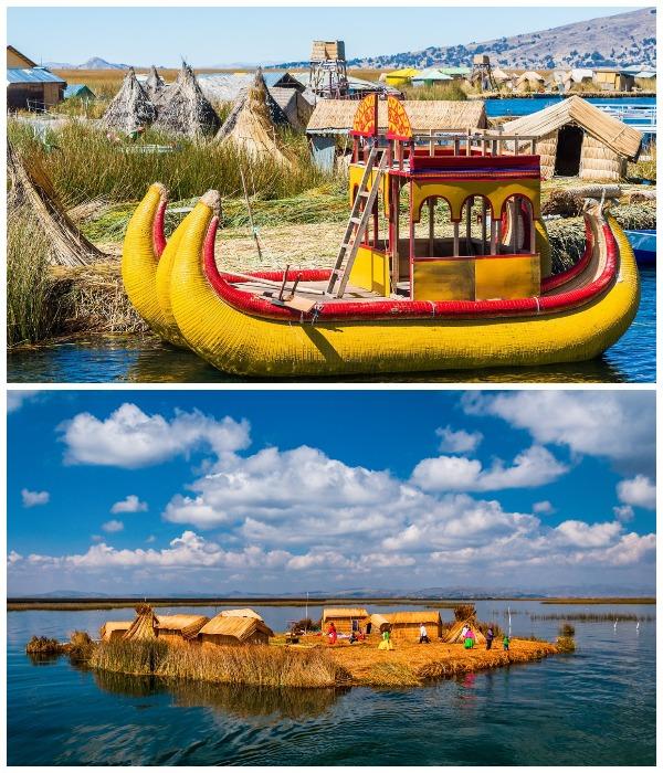 Гостей туристического поезда доставят в плавучие деревни, где живут уру (Перу).