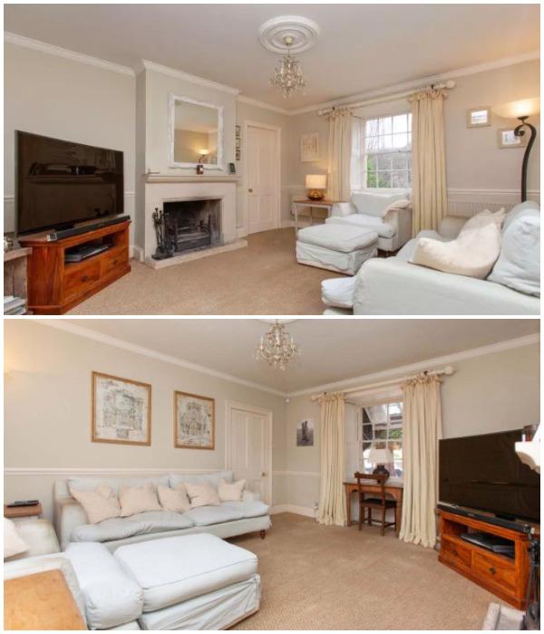 Уютная гостиная с камином станет идеальным местом для отдыха в кругу семьи (The Old Dairy, Великобритания).