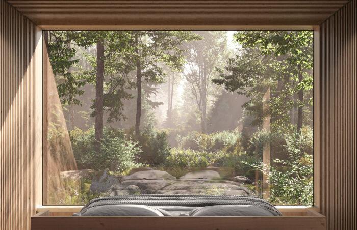 Прозрачная стена в спальной зоне позволит наблюдать за меняющимся пейзажем, не вставая с постели (Arcana, Канада).   Фото: mymodernmet.com.