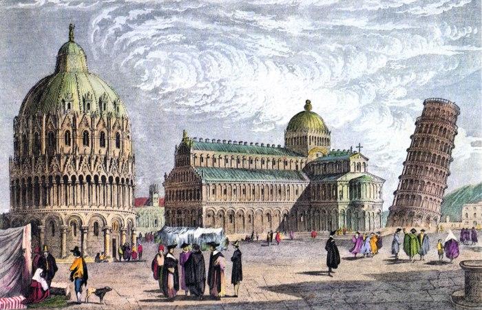 Пизанская башня на Площади чудес (Рисунок 1830 года). | Фото: rundetaarn.1642.dk.