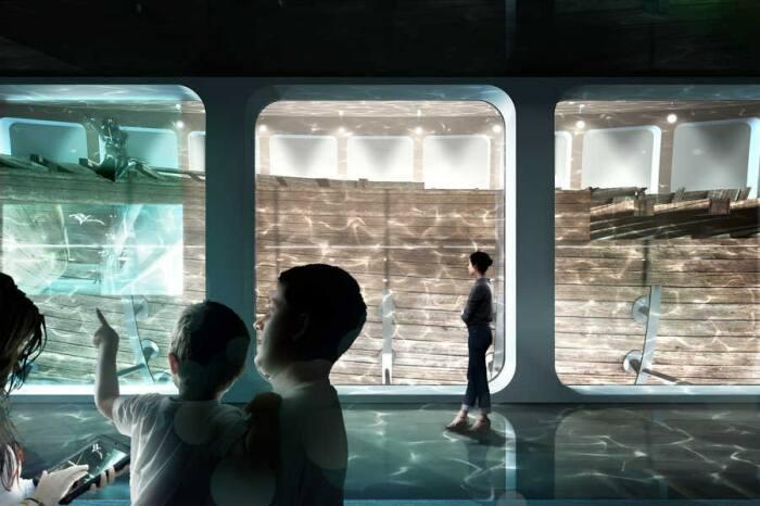 Процесс поднятия и доставки судна к берегам Нидерландов замет несколько лет, поэтому музей откроется не раньше 2025 г. (концепт архстудии ZJA). | Фото: cfts.org.ua.
