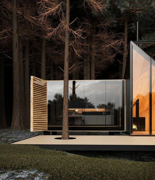 В лесном доме, сливающемся с природой, путник найдет все необходимое для комфортного отдыха (концепт Amber house). | Фото: styleinsider.com.ua.