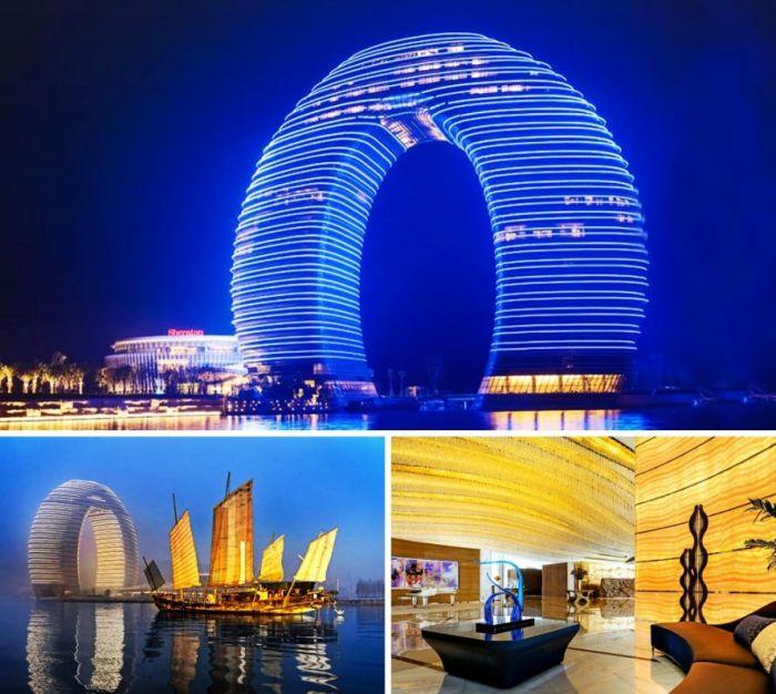 Уникальный отель Sheraton Huzhou, имеющий форму кольца стоит в водах озера Тайху (Хучжоу, Китай). | Фото: businessman.ua.