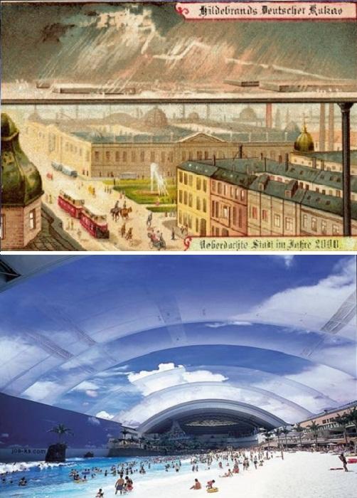 Частично исполнили мечту предков японские строители, они под куполом спрятали аквапарк площадью 30 тыс. кв.м! | Фото: interestingengineering.com./ fpsbutest.wordpress.com.