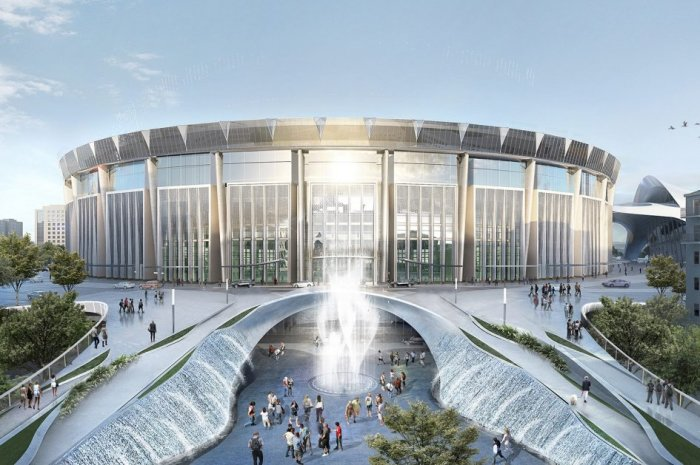 Фасад здания останется неизменным, его только приведут в надлежащий вид (Проект СК «Олимпийский», Москва). | Фото: realty.rbc.ru.