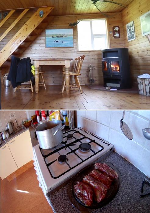 Для обогрева домика установили дровяную печь, а для приготовления еды есть баллонный газ (о.Эдлидаэй, Исландия). | Фото: youtube.com/ © Bjarni Sigurdsson.