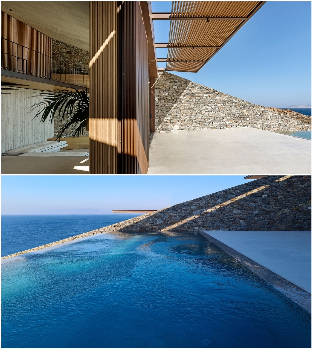 Общая зона отдыха и видовой бассейн расположены на цокольном уровне дома (Ncaved House, о-в Серифос).