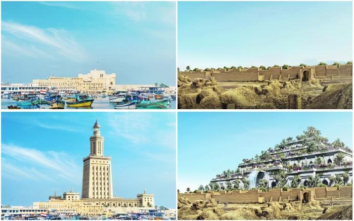 Благодаря современным технологиям мы можем отчетливо увидеть, как выглядели Висячие сады Семирамиды и Александрийский маяк.