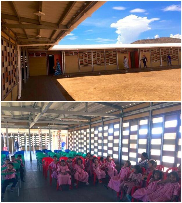 Композитный материал WPC активно используют для обустройства общественных зон и учебных заведений (Колумбия).