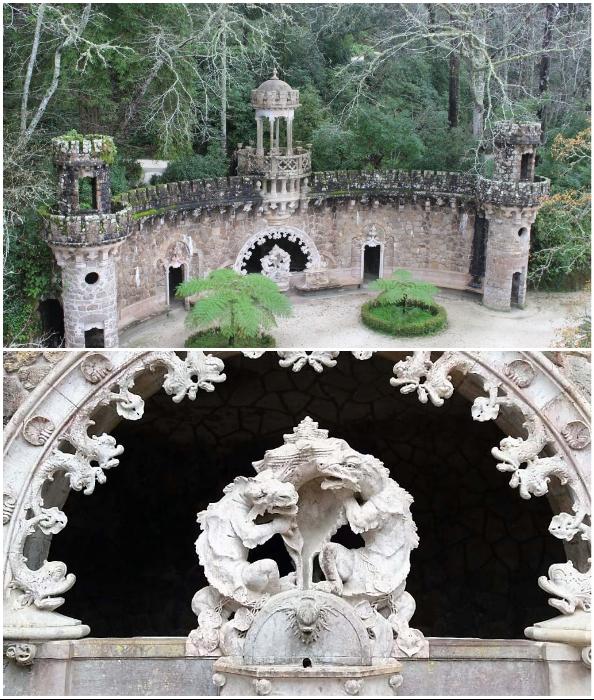 Своеобразным порталом в таинственный мир стала «Божественная терраса», которую охраняют тритоны (Quinta da Regaleira, Синтра).