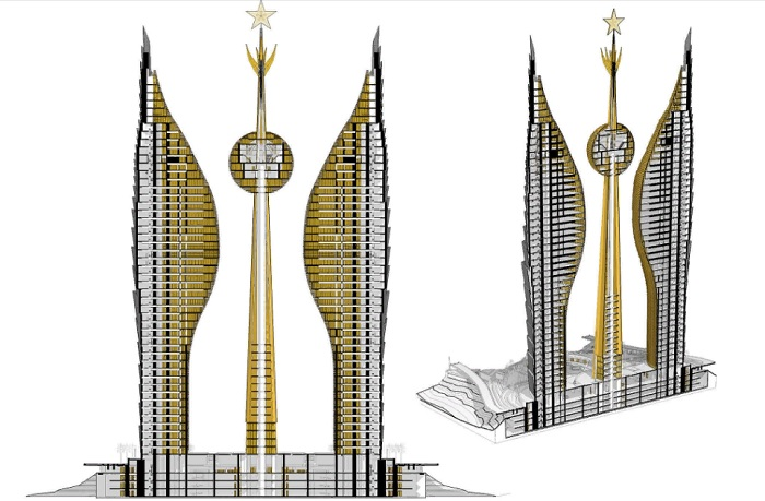 Высотный комплекс будет иметь 43 этажа и 4-х уровневый цоколь (концепт Djibouti Towers).