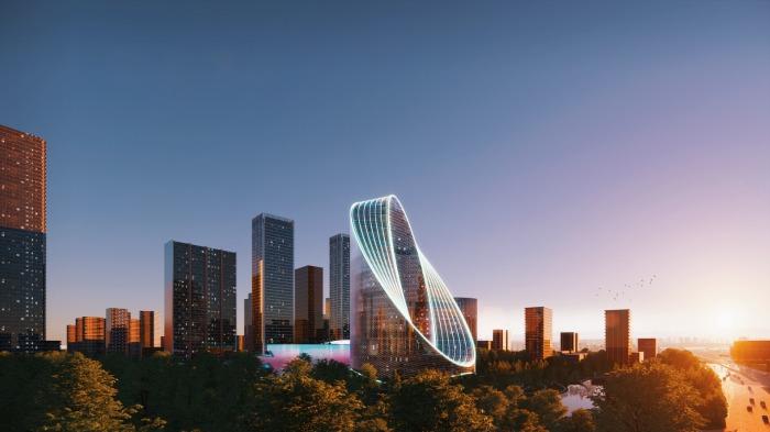 Власти города и разработчики уверены, что футуристический объект станет своеобразными воротами Ханчжоу и научного городка (концепт O-Tower, BIG). | Фото: archdaily.com.