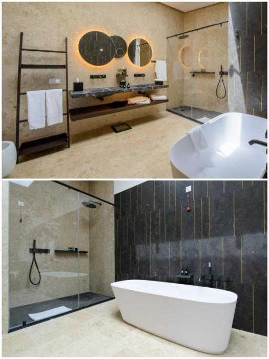 Ванные комнаты в номерах и сьютах бутика-отеля Villa Nai 3.3 (Хорватия).