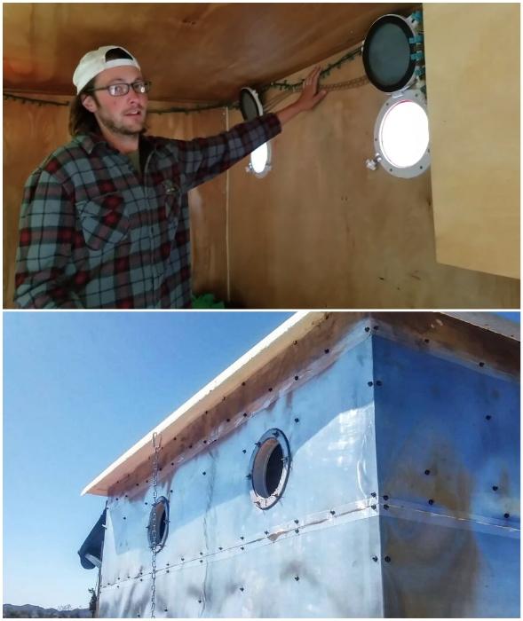 Чтобы днем не пользоваться электричеством, энтузиасты сделали небольшие окна-иллюминаторы.