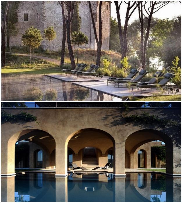 Пруд и бассейн предназначены для гостей отеля (Castello Di Reschio Hotel, Италия).