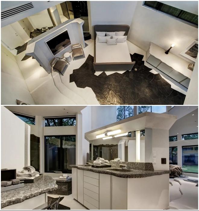 Хозяйская спальня с просторной ванной комнатой расположены на первом этаже.