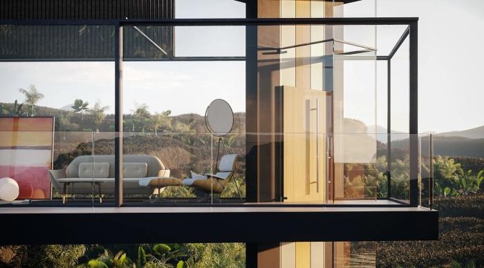 Украшением интерьера станут дизайнерская мебель и оригинальные аксессуары (концепт House on the Rice Paddy). | Фото: mymodernmet.com.