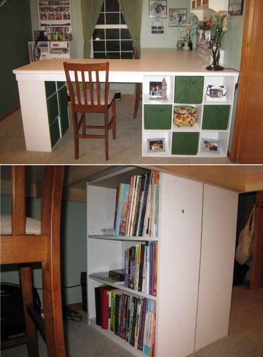 На полках стеллажных систем Ikea можно хранить книги, материалы, инструменты и другие нужные для рукоделия вещи.