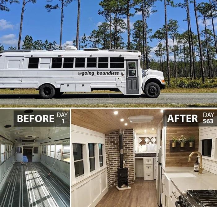 Американская влюбленная пара старый школьный автобус превратила в роскошные апартаменты на колесах. | Фото: facebook.com/ © Going Boundless.