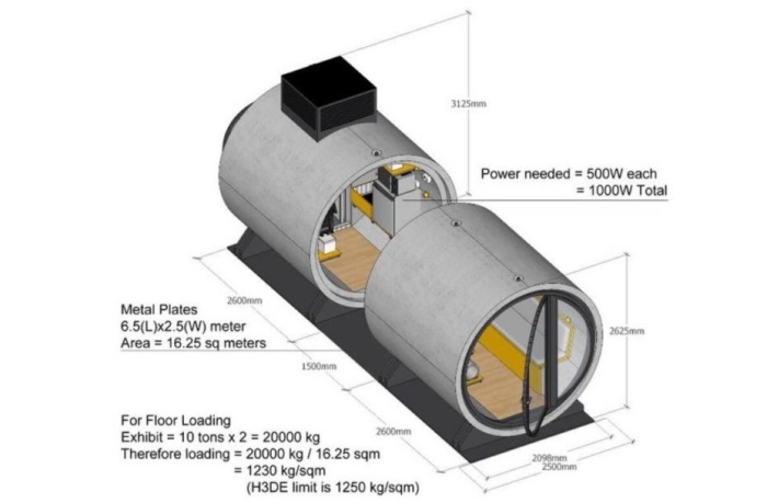 Схема размещения зон и технические характеристики микродома из железобетонной трубы (OPod Tube House, Гонконг). | Фото: bigpicture.ru.