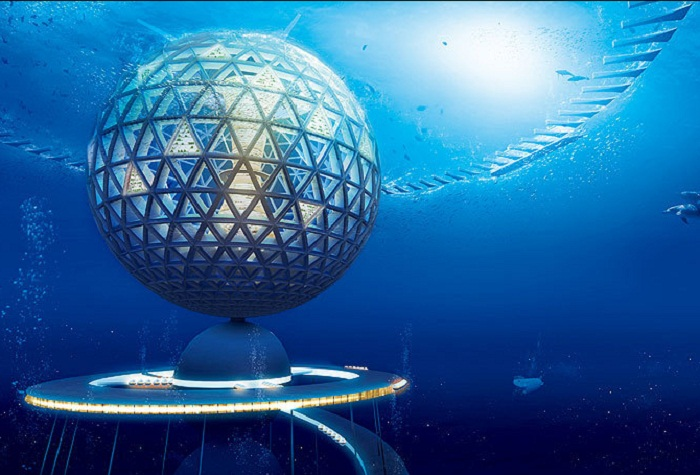 Компания «Shimizu Corporation» разработала концепцию подводного города-будущего «Океаническая Спираль» (Япония). | Фото: daypic.ru.