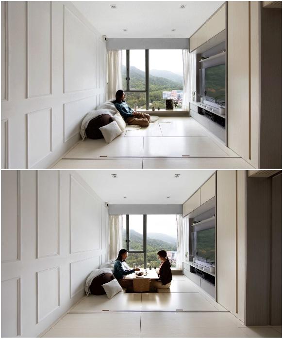 Гостиная легко трансформируется из зоны отдыха в обеденную и наоборот (Smart Zendo). | Фото: design-milk.com/ © Sim-Plex.