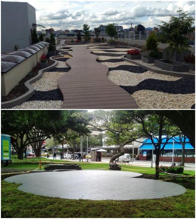 Из доски WPC получаются прекрасные тротуары и площадки (Колумбия).