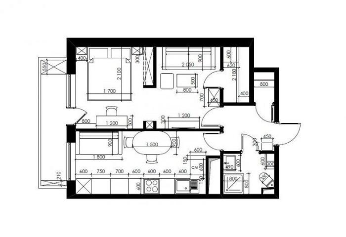 Чертеж квартиры с новой планировкой и схемой размещения мебели.