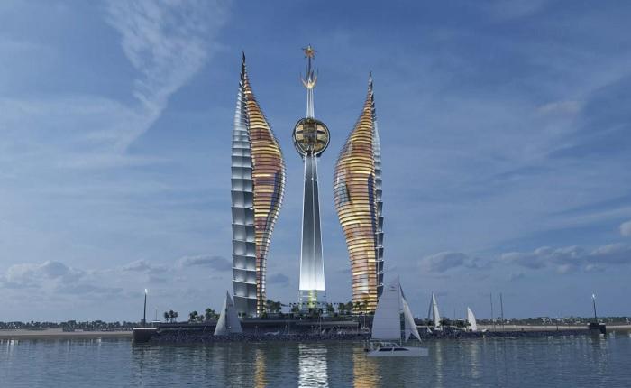 Эффектное отражение в воде подчеркнет величие комплекса Djibouti Towers (концепт). | Фото: wizhevsky.com.