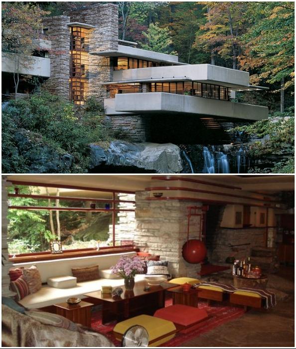 «Дом над водопадом» – один из знаковых проектов Фрэнка Ллойда Райта (Пенсильвания, 1939 г.).