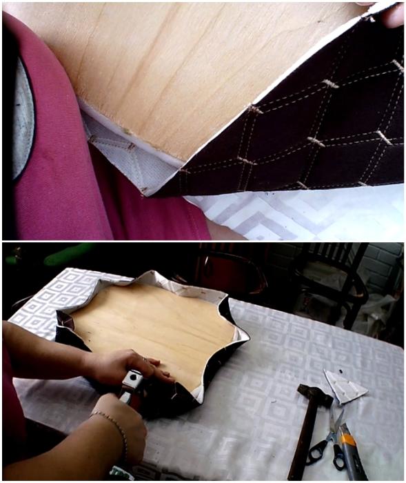 Обивочную ткань вырезать с припуском 4-5 см и закрепить мебельным степлером.