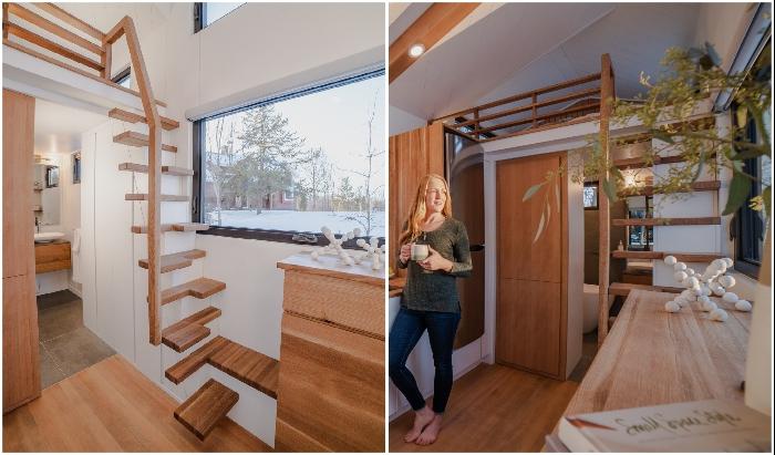 «Парящая» лестница стала украшением жилой зоны.