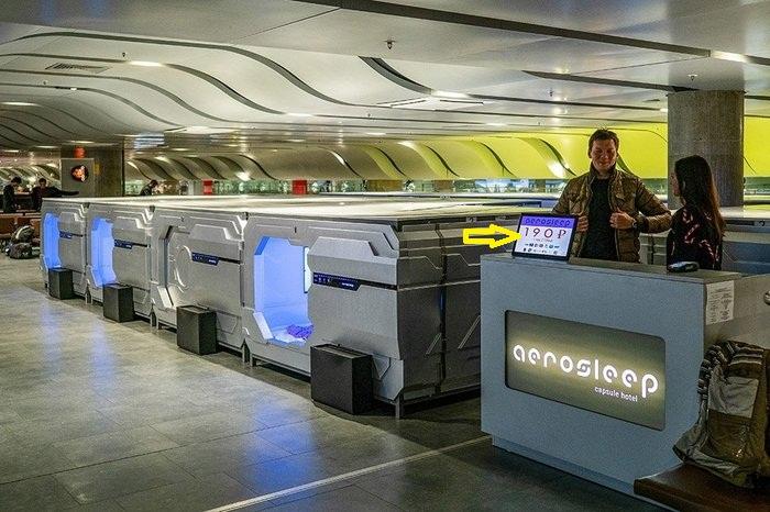 Промо-тариф на пребывание в капсульном отеле Aerosleep составляет 190 рублей в час (Пулково, Санкт-Петербург).