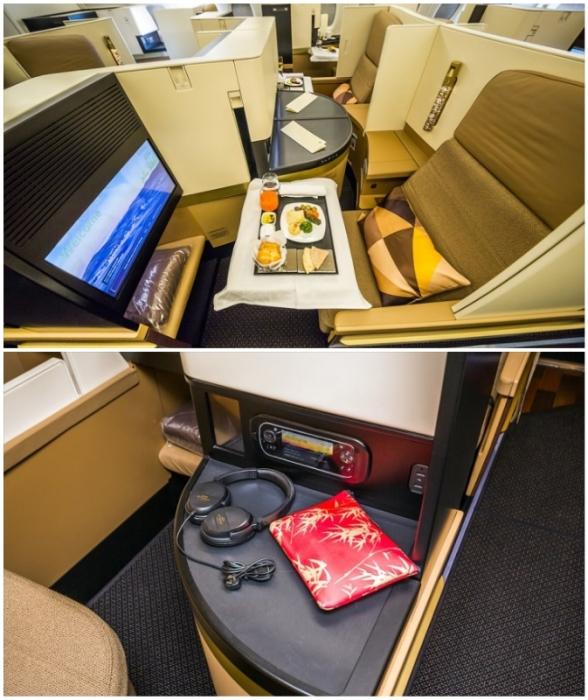 Для гостей подготовили дорожный набор с предметами первой необходимости и разнообразное меню (Airbus А-380 Etihad).