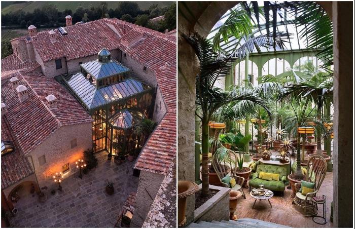 Единственным современным строением стал зимний сад (Castello Di Reschio Hotel, Италия).