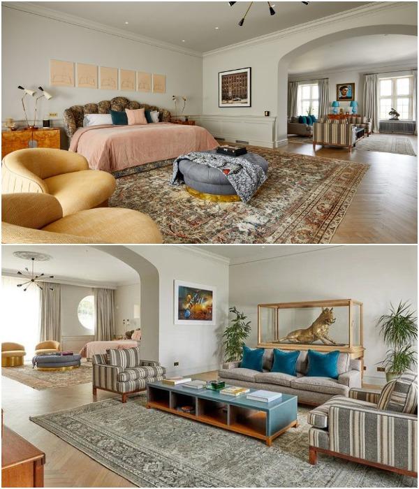 В Compton Bassett House имеются спальные апартаменты с собственной гостиной и ванной комнатой (Великобритания).