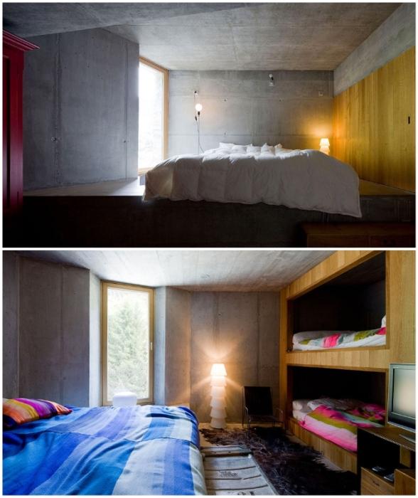 Компактно расположенные спальни с двухъярусными кроватями расположены на втором уровне (Villa Vals, Швейцария).